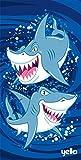 MTS Microfibre Lightweight Beach Bath Towel Sheet Sports Travel Camping Gym Swimming (Blue Sharks)