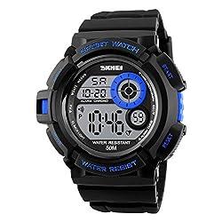 Skmei Special Digital Display Sports watch 3ATM waterproof Stainless Steel Back -1222 Blue
