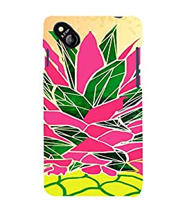 PrintVisa Colorful Pineapple Design 3D Hard Polycarbonate Designer Back Case Cover for Micromax Bolt D303