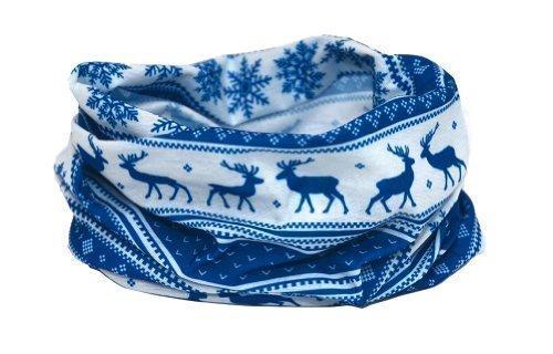 Ruffnek classico nordic inverno / renna design sciarpa - blu multifunzione scaldacollo maschera da sci - uomo, donna & bambini