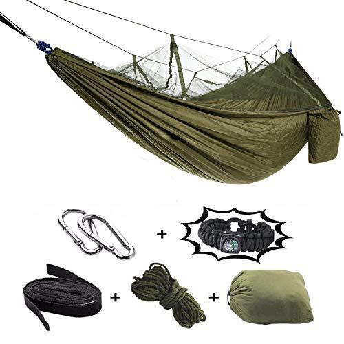 Amaca, amaca da 2 posti all'aperto con zanzariera ultraleggera traspirante, asciugatura rapida amaca da campeggio in nylon con paracadute per trekking, viaggi, spiaggia, giardino - 440lbs capacità