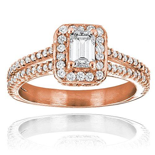 Luxurman Ladies 14K Halo Emerald Cut Natural 1.2 Ctw Diamond Unique Engagement Ring (Rose Gold Size 9)