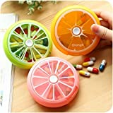 lenhar tragbar drehbar 7 Tage Weekly Pille Veranstalter Travel Medizin Tablet Halter Storage Fall Box Spender, Cute Fruit Style, 3 Stück (orange/Lemon/Pomelo)