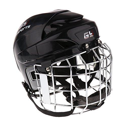 MagiDeal Profi Eishockeyhelm Eishockey Helm Helmet mit Gitter XS-XL, Weiß/Schwarz/Rot/Blau - Schwarz, S (Kinder-eis-blau-bekleidung)