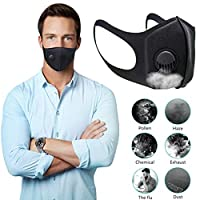 YANGMAN-L Gezichtsmasker, filtermaskers met 3.0 ademend ventiel, anti-condens, anti-pollution, anti-stofmasker, wasbaar, uniseks, mondmasker voor fietsen, kamperen, reizen, set van 2