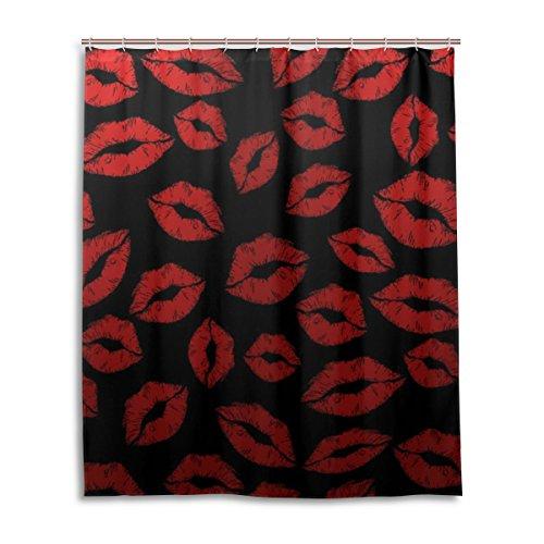 Konzepte Roten Teppich (Badezimmer Duschvorhang mit 12Haken Schimmelfest Polyester Stoff 152,4x 182,9cm rote Lippe Muster)