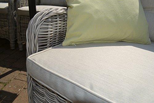 Gartenmöbel Set Como-6 Tisch ausziehbar Holzdekor mit 6 Sessel Rattan Polyrattan Geflecht - 5