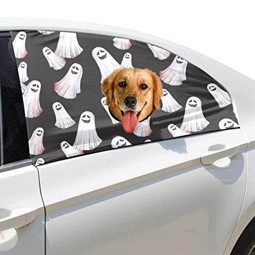 Zemivs Happy Halloween Geist Geist Faltbare Hund Sicherheit Auto Gedruckt Fenster Zaun Vorhang Barrieren Protector Für Baby Kind Einstellbar Flexible Sonnenschutzabdeckung Universal Fit Für - Bösen Geistes Kind Kostüm