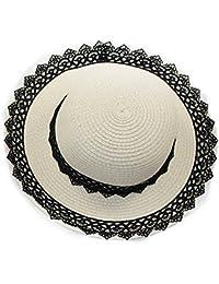 Leisial Sombreros de Paja con Flores de Encaje Gorro Sol al Aire Libre Playa Gran Sombrero de Ala Verano para Mujer