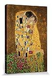 1art1 70726 Gustav Klimt - Der Kuß II Poster Leinwandbild Auf Keilrahmen 120 x 80 cm