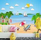 YUYINGXIANG Photo 3D Papier Peint Seaside De Bande Dessinée Moderne Décorer Chambre Enfants Chambre Fond Peinture Peinture Wallpaper,220cmx330cm