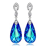 Kate Lynn Mermaid Tears Drop Dangle Earrings for Women Ladies Blue Crystals from SWAROVSKI