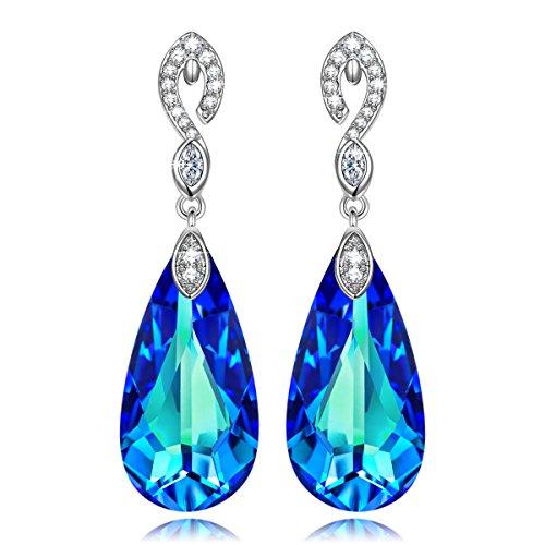 Kate lynn lacrime sirena orecchini pendenti donna con cristallo swarovski bermuda blue regali di natale gioielli per compleanno anniversario san valentino madre moglie figlia ragazza lei