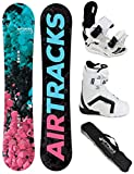 AIRTRACKS DAMEN SNOWBOARD SET - BOARD POLYGONAL 138 - SOFTBINDUNG STAR W - SOFTBOOTS STRONG W ATOP 39 - SB BAG
