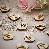 Streudeko Herzen aus Holz mit der Aufschrift Just Married im Vintage Look - Inhalt 25 Stück pro Verpackungseinheit - Grösse pro Streuelement ca. 2,5 cm x 1,5 cm