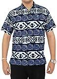 LA LEELA Pulsante ntage Surf Fino Camicie hawaiane per Uomo ut_2766 Blu Navy 563 XL