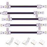 Kabenjee 5X 5 polig 12mm Breit RGBWW Bänder Verlängerungsstecker Jumper,17cm Lange LED Stripe Verbinder Verteiler Adapter Eckverbinder,lötfrei Verbindungskabel Anschlusskabel zwischen RGBW-Band