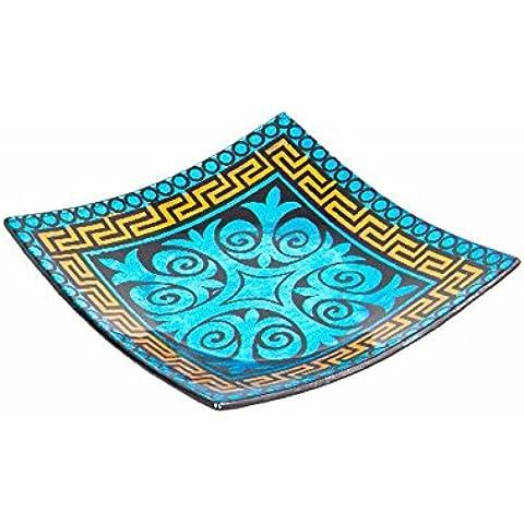 Vassoio quadrato di vetro blu–modello geometrico