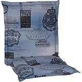 nxtbuy Gartenstuhl-Auflage Nizza 100x52 cm Jeans Blau 4er Set - Niedriglehnerauflage für Gartenstühle - Stuhlauflage mit Komfortschaumkern - Made in EU / ÖkoTex100