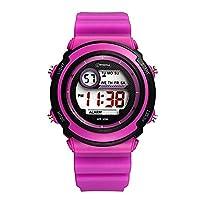 Sport LED Luminous Alarm Digital Watch Waterproof Pvc Strap Quartz Children Wrist Watch,Purple