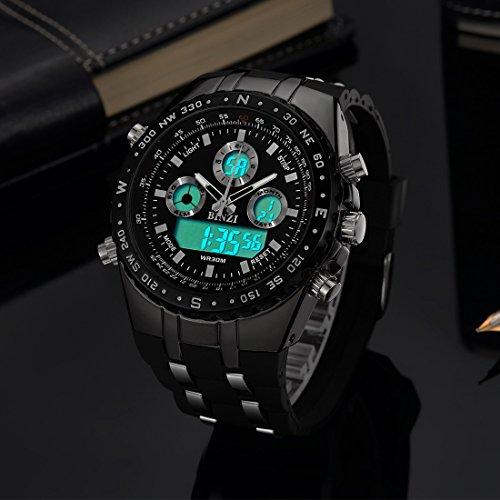 da588673778a binzi Hombre Relojes impermeable militar reloj de pulsera Sport de relojes  de lujo reloj digital LED ...