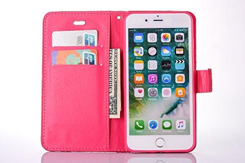 Cover per iPhone 7 Plus Zipper,Custodia per iPhone 8 Plus ,Bonice Premium Pelle Portafoglio Staccabile Detachable Removable Folio Protettivo Case Multiplo Card Slots Extra Multifunzionale Slot per Car Rosa rossa