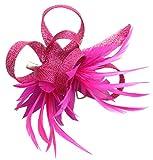 Tocado de plumas para mujer, tela de sinamay, accesorio de bodas con flores y broche para el pelo...