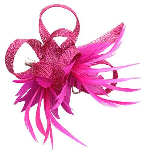 Frauen Faszinator Hut Hochzeit Zubehör Blütenkopfstück Haarclip Brosche Pin (Rosa Hut Fabelhafte)