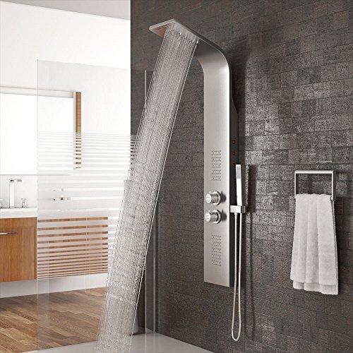 Flyelf Pannello Colonna doccia multifunzione in acciaio inossidabile con idromassaggio,corpo in acciaio inox con illuminazione a LED integrata 30 ℃ - 50 ℃