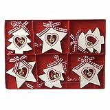 Heaven Sends Set di 6Rosso & Bianco Legno Nordico Stella e Albero di Natale Decorazioni dell' Albero 6x 5cm