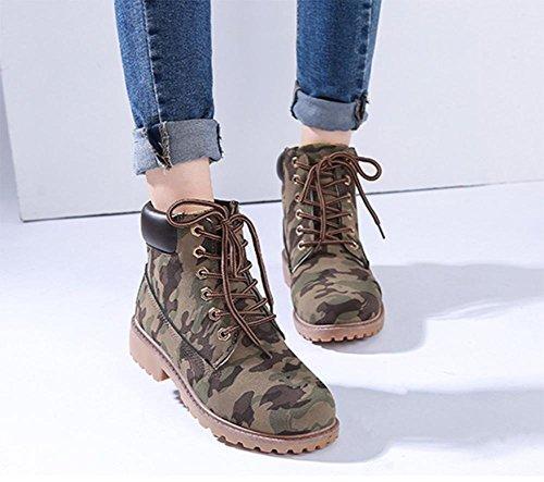 Herbst und Winter Stiefel weibliche Martin beiläufige Aufladungen im Freien Stiefel Camo NS0A6Dw