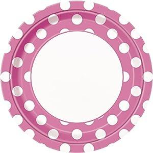 Unique Party- Paquete de 8 platos de papel a lunares, Color rosa oscuro, 37485)