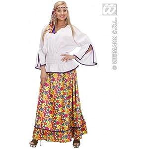WIDMANN Générique Señoras terciopelo Mujer del Hippie de vestuario Medio Reino Unido 10-12 de 60s 70s hippy vestido de lujo