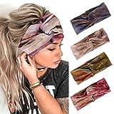 Edary Boho Yoga Tie-Dye Hoofdbanden Geknoopte Haarbanden Tulband Criss Cross Twisted HeadWrap Elastische Sport Hoofddoek Running Accessoires voor Meisjes Vrouwen (4 Stks) (Stijl 1)