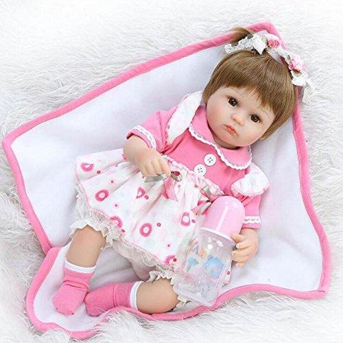 Schöne Lebensechte Reborn Baby/Puppe mit Schönen Kleid Tuch Körper Neugeborenen 16.5 Zoll 42Cm Baby Spielzeug Geschenk HOJZ