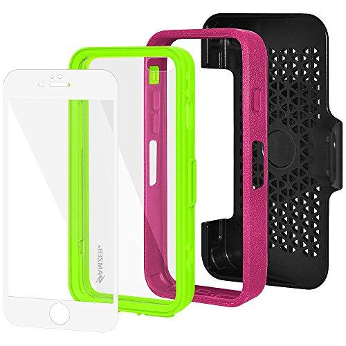Amzer Crusta edge2edge Shell Housse Coque Étui robuste avec verre trempé et clip ceinture pour iPhone 6Plus Argenté/doré _ P Grey, Magenta