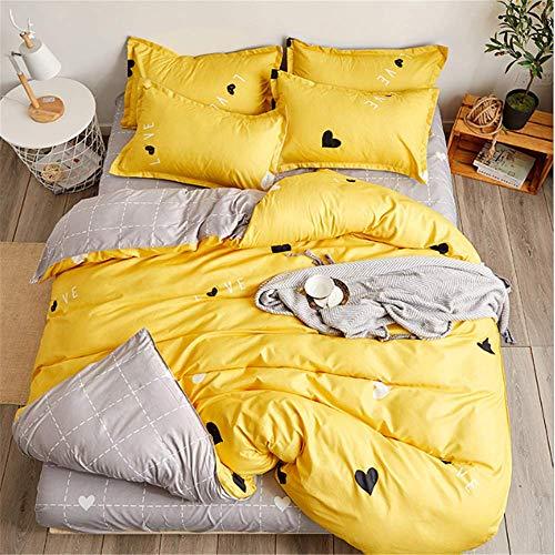 SHJIA Streifen Bettwäsche Bettwäsche-Sets Bettbezug Bettlaken Kissenbezug Twin Full Queen King Size Bettlaken Gelb 150x200cm - Twin-size-bettlaken
