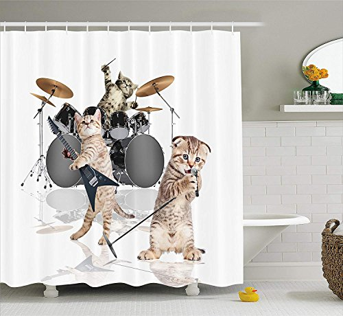 Mucuum Animal Decor Shower Curtain Cool Fancy Hard Cute Rocker Band of Kittens mit Singer Gitarrist Cats Print Fabric Bathroom Decor Set mit Hooks White Beige - Vinyl-grafik-band