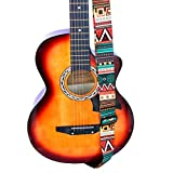 Gitarrengurt Ethno, Gitarrengurthalter mit Lederenden für Akustik Klassische E-Gitarre Jacquard