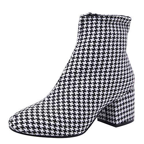 Miss Li Hohe Absätze Der Frauen Herbst Und Winter Hahnentritt-Design Quadratische Starke Ferse Chelsea Stiefel Freizeit Ankle Boots,Grey-38 -
