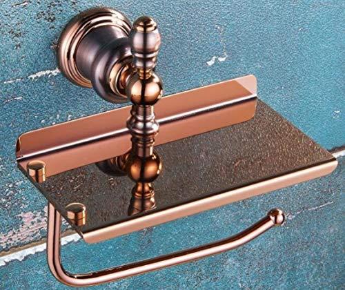 Toilet Paper Home Wandmontiertes amerikanisches Retro im Stil aus Kupfer, Roségold, gebürstetes Rechteck mit