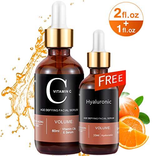 Vitamin C Serum MayBeau 60 ml + 30ml Hyaluronsäure Gesichtsserum mit Vitamin E 100% Rein und Organisch AntiAging + Anti Falten + Pickelmale und dunkle Kreise für Haut, Dekolleté und Körper