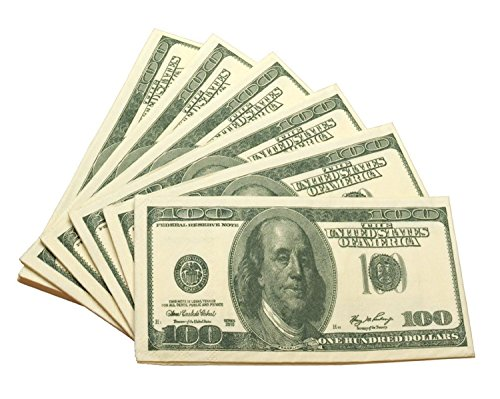 VWH 100-Dollar-Schein Geld-Party-Taschen-Servietten Neuheit Papiertaschentücher -Witz-Gag-Fälschungs-Geschenk (Spiel Dollar)