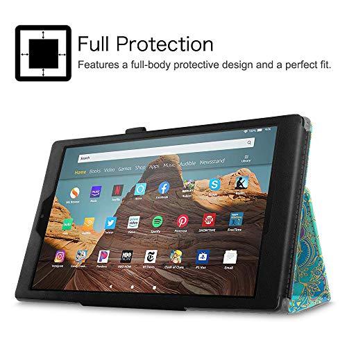 Fintie Hülle für Das neue Fire HD 10 Tablet (7. Generation – 2017) – Folio Kunstleder Schutzhülle Cover mit Ständerfunktion für All-New Amazon Fire HD 10,1 Zoll Tablette, Jade - 3