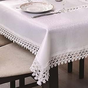 35x35 Quadratisch weiß Tischdecke Gipüre fleckenabweisend Lotus Effekt elegant praktisch außergewöhnlich klassisch