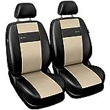 Saferide| Universal Vordersitze 1+1 Set Kunstleder Beige Sitzbezüge Sitzbezug für Auto Sitzschoner Set Schonbezüge Autositz Autositzbezüge Sitzauflagen Sitzschutz PKW X-Line