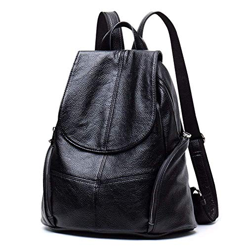HYLV Leder Schultertasche große Kapazität Handtaschen beiläufige Anti-Theft Soft-Leder Rucksack,Schwarz,A