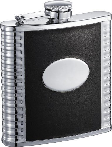 visol-tux-deux-leatherette-stainless-steel-hip-flask-6-ounce-black-by-visol