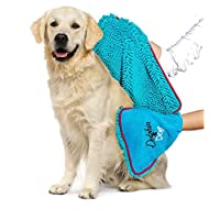 Dolphin & Dog® - Dog Towel - Super Absorbent Dog Towels, Pet Towel, Dog Microfibre Drying Towel, with Hand Pockets - 36-inch x 12-inch - Pet towel - Quick Drying and Machine Washable Brand Name