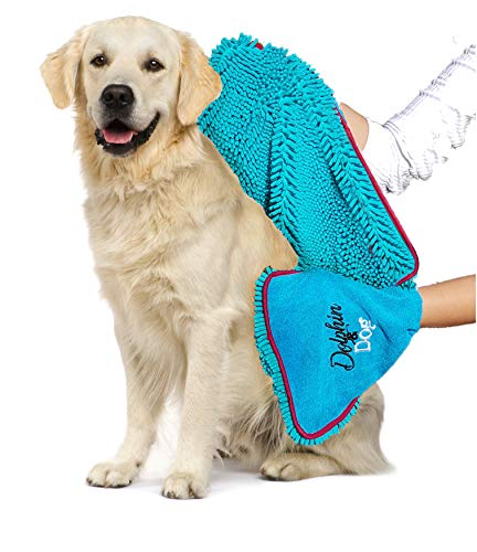 Dolphin and Dog Hundehandtuch mit Handtaschen, sehr saugfähig, Mikrofaser-Chenille, 71 x 30 cm, ideal für jedes Haustier, schnelltrocknend und maschinenwaschbar -